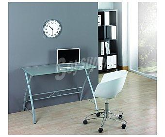 BKN Mesa de escritorio con estructura metálica y encimera de cristal translucido y medidas de 74x100x60 centímetros (alto x ancho x fondo) bkn.*