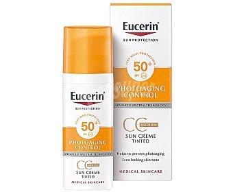 Eucerin Crema facial cc cream con tono de color medio y factor de protección 50 (alto), especial piel sensible 50 ml