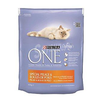 PURINA ONE Alimento especial pelaje y bolas de pelo para gatos con pollo y cereales integrales  Paquete de 450 g