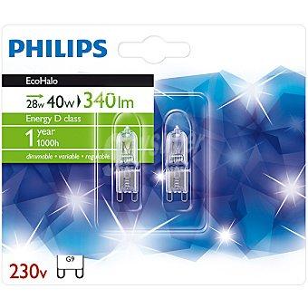 Philips Ecohalo 28 W (40 W) 2 lamparas eco halogenas G9 230 V