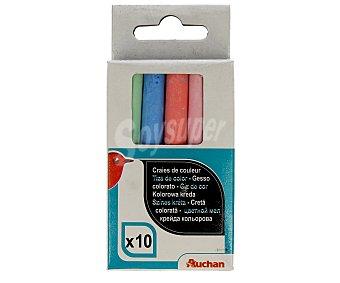 Auchan Tizas de colores para pizarra Paquete de 10 uds