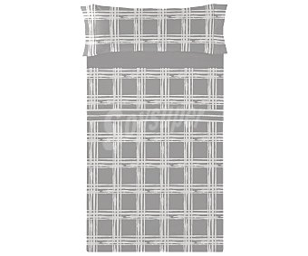 TEXTIL HOGAR Juego de sábanas de franela 100% algodón para cama de 135cm., diseño cuadros en tonos grises, Hogar.