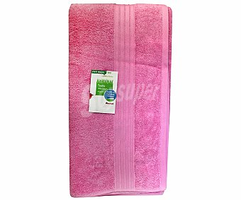 Auchan Toalla de algodón lisa de baño, color rosa, 100x150 centímetros, 450 gramos/m² 1 Unidad