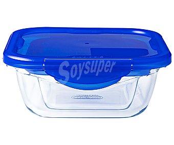 PYREX Cook & Go Recipiente cuadrado de vidrio con tapa hermética, de capacidad, Cook&Go PYREX. 0,85 litros