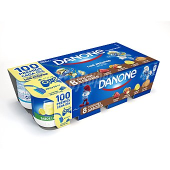 DANONE Yogur sabores 2 fresa+ 2 macedonia+ 2 limon+2 galleta pack 8 unidades 125 g