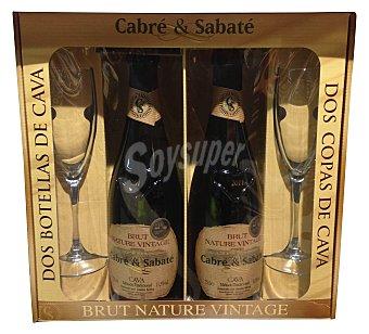 Cabre & Sabate Estuche bebida cava brut nature vintage  2 botellas 750 cc + 2 copas cristal