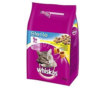 Whiskas Pienso para gatos esterilizados a base de pollo 1,4 kg