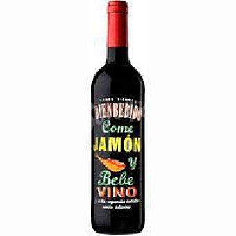 Bienbebido Vino tinto tempranillo, fresco y afrutado, especial para comer jamón Botella de 70 cl