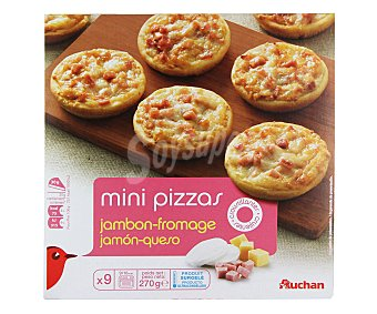 Auchan Mini pizza con jamón y queso 9 unidades (270 g)