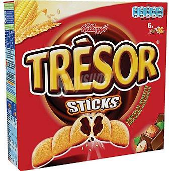 KELLOGG'S TRESOR Sticks Barritas de cerelales rellenas de chocolate con avellanas Pack de 6x21g