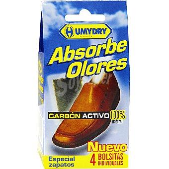 Humydry Absorbeolores para calzado Carbón Activo 100% natural blister 4 bolsitas individuales