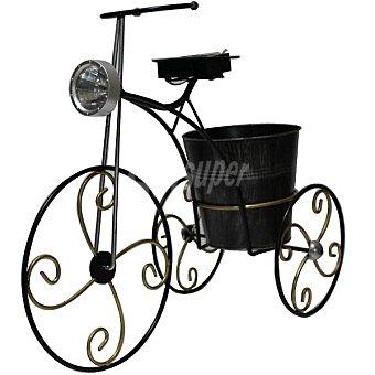LUZ Bicicleta con maceta y solar en color negro