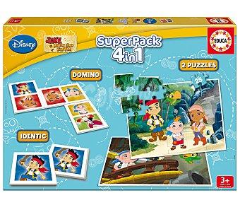 EDUCA Juegos 4 en 1, 2 Puzzles, 1 Memo y 1 Dominó de Personajes Disney 1 Unidad
