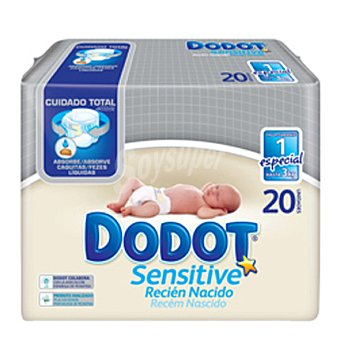 Dodot Sensitive Pañales prematuros talla 1 (hasta 3 kg) 20 unidades