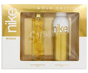 NIKE GOLD Estuche Colonia Mujer : Eau de Toilette 100ml+ Desodorante 200ml 1u