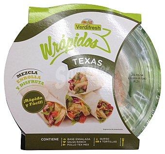 VERDIFRESH Wrap texas mezcla, enrolla y disfruta fresco / caliente (contiene base ensalada, salsa ranchera, pollo texas, queso y 4 tortitas) Tarrina de 300 g