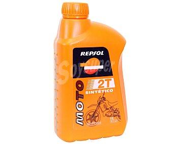 REPSOL Lubricante sintético para motocicletas, scooters y maquinaria de jardineria y bricolaje con motores de 2 tiempos 1 litro