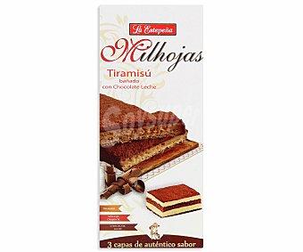 LA ESTEPEÑA Milhojas de tiramisu bañado con chocolate con leche 200 gramos