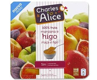 Charles & Alice Compota de Manzana-Higo sin Azúcar sin Gluten 4 Unidades de 100 Gramos