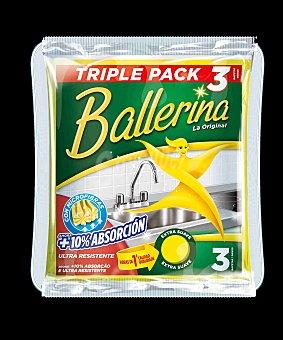 Ballerina Bayeta amarilla super absorbente Paquete 3 u
