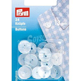 PRYM Estuche 24 botones de plastico en color blanco de 13 mm
