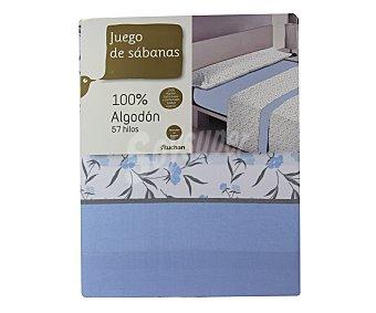 Auchan Juego de sábanas de 3 piezas 100% algodón color azul estampado flores para cama de 150 centímetros 1 unidad