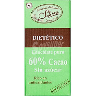 Subiza Chocolate puro 60% sin azúcar Tableta 125 g