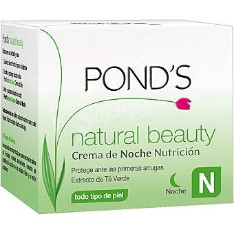 Pond's Crema antiarrugas noche Natural Beauty con extracto de té verde para todo tipo de piel protege ante las primeras arrugas Tarro 50 ml