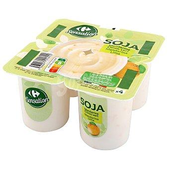 Sensation Postre de soja sabor mandarina y lima Carrefour sin gluten Pack de 4 unidades de 100 g