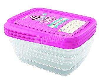 Jobgar Conjunto de 3 recipientes de plástico rectangulares con tapa hermética decorada color rosa, 1 litro de capacidad 1 unidad
