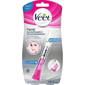 Veet Cera depilatoria facial lápiz 2 en 1 con aceite de almentras cera de precisión & crema para cuidado post-depilación Envase 15 ml