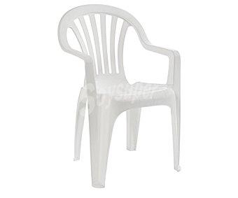 RESOL Silla fija aplilable modelo Pals para jardín. Fabricada en resina de color blanco, con respaldo bajo y medidas: 53x52.8x82.7 centímetros 1 unidad