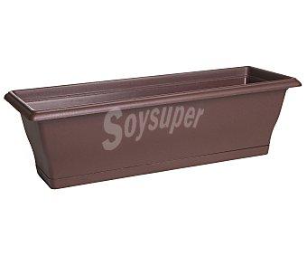 VAN Clipper Maceta balconera de plástico, rectangular, lisa, de color chocolate y medidas de 60 x 20 x 19 centímetros Clipper