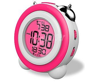 DAEWOO DDC-220BL Radio reloj despertador con sintonizador de radio FM, 2 alarmas, color rosa