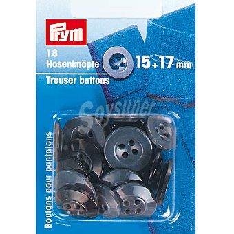 PRYM Estuche de 18 botones de plástico para pantalón en color negro de 15 y 17 mm