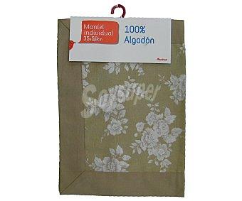 AUCHAN Mantel individual estampado color beige, 100% algodón, 35x50 centímetros 1 Unidad