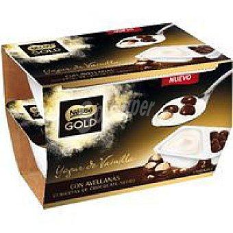 Gold Nestlé Yogur de vainilla con avellanas Pack 2x115 g
