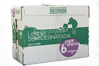 Hacendado Leche semidesnatada Brick pack 6 x 1 l - 6 l