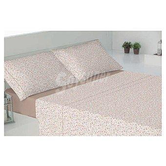 CASACTUAL Albacete Juego de cama con florecillas en color beige