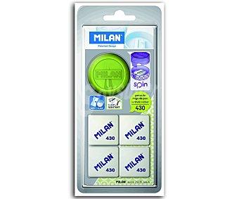 Milan Pack de sacapuntas modelo Spin y 4 gomas de borrar, modelo 430 (miga de pan) milán 1 unidad