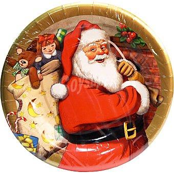 NV CORPORACION Plato decorado papa Noel 23 cm Paquete 8 unidades