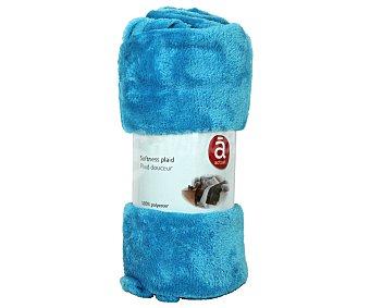 Actuel Manta de franela color azul turquesa para sofá, 100% algodón, densidad de 220g/m², 130x170 centímetros 1 unidad