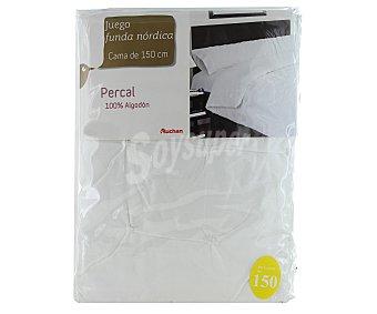 AUCHAN Funda para edredón nórdico, de percal con bordado, color blanco, 150 centímetros 1 Unidad