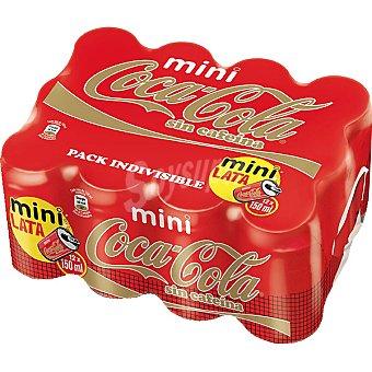 Coca-Cola Refresco de cola sin cafeína 12 latas de 15 cl