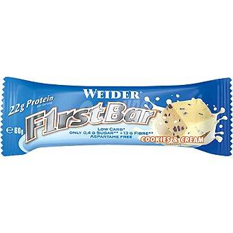 WEIDER First Bar  proteína sabor cookies y crema baja en carbohidratos y azúcar envase 60 g barrita 22g