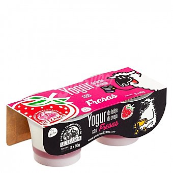 Ultzama Yogur con fresa de leche de oveja sin gluten Pack de 2 unidades de 80 g