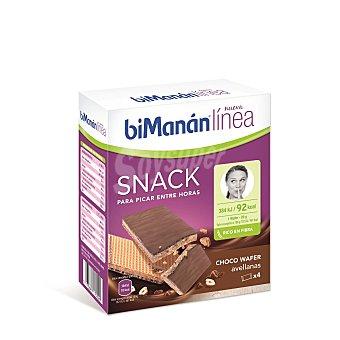 Bimanan Linea Snack Wafer de chocolate y avellanas para picar entre horas  4 unidades