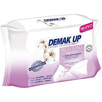 Demak'Up Toallitas desmaquillantes suavidad algodón enriquecida con activos micelares de algodón para piel sensible y seca Paquete 20 unidades