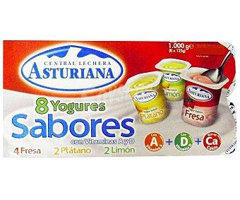 Central Lechera Asturiana Yogur de sabores surtidos (fresa, limón y plátano) 8 x 125 ml