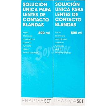 Pharmaset Solución única líquido para lentes de contacto blandas Pack 2x 500 ml